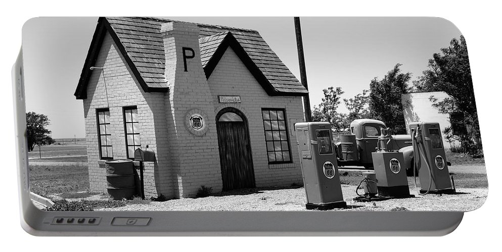 66 Portable Battery Charger featuring the photograph Route 66 - Phillips 66 Gas Station by Frank Romeo
