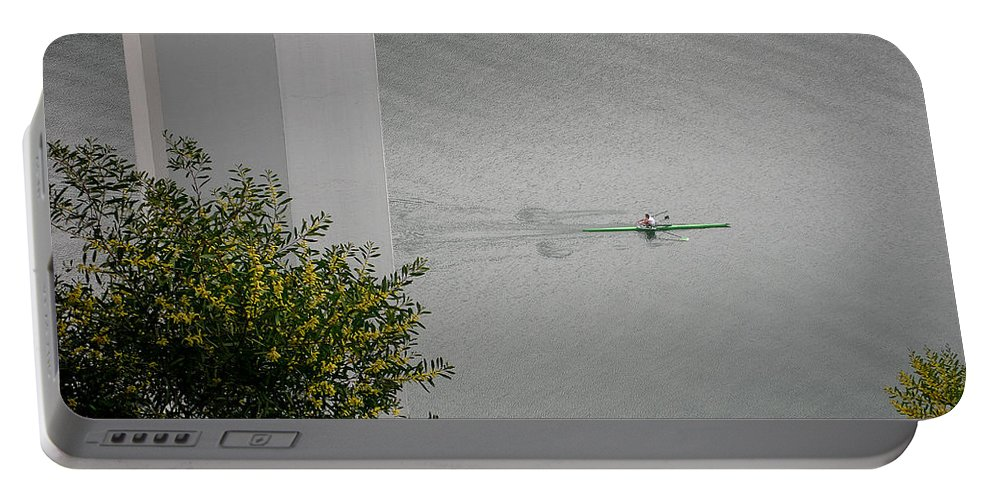 Rower Portable Battery Charger featuring the photograph Rower On Douro by Ari Salmela