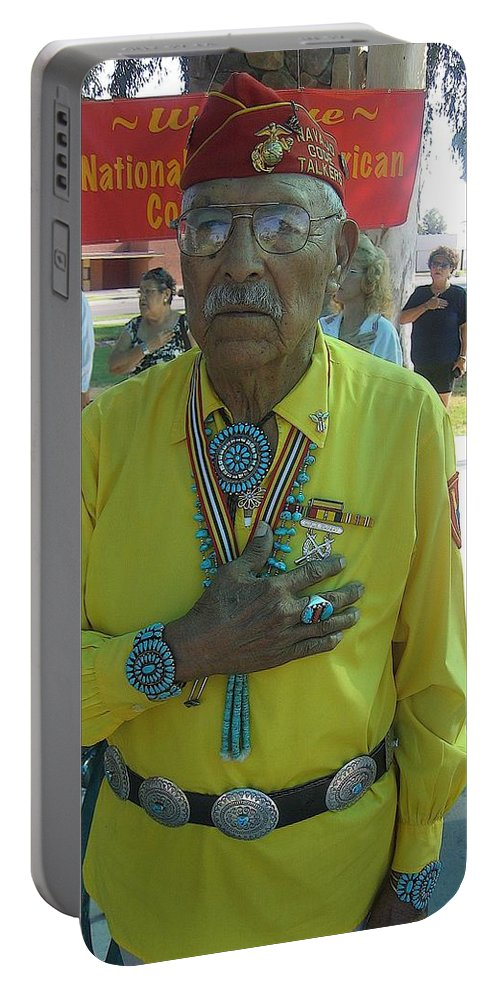 Samuel Tso Pledging Allegiance Navajo Code Talker Peart Park Casa Grande Arizona 2007 Portable Battery Charger featuring the photograph Samuel Tso Pledging Allegiance Navajo Code Talker Peart Park Casa Grande Arizona 2007 by David Lee Guss