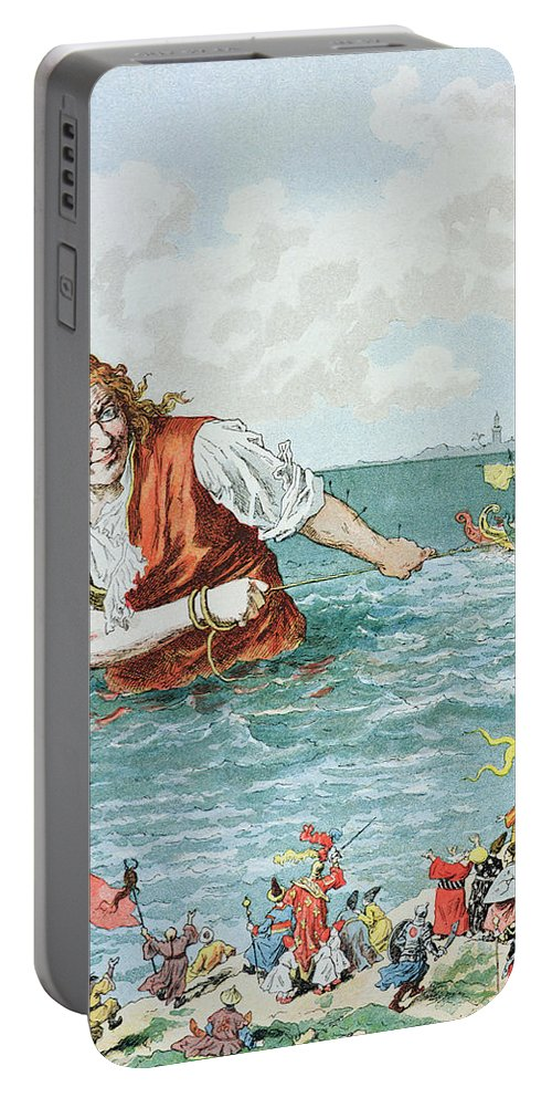 'gulliver's Travels' Portable Battery Charger featuring the painting Scene From Gullivers Travels by Frederic Lix