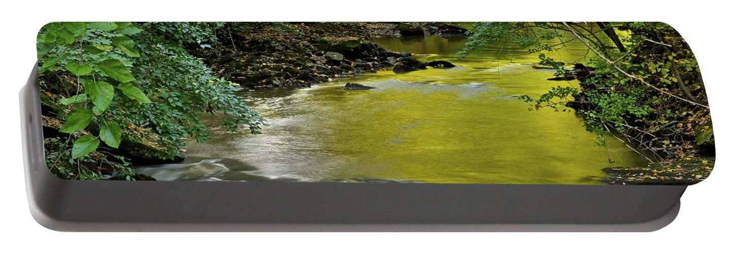 Stream Portable Battery Charger featuring the photograph Serene Stream by Frozen in Time Fine Art Photography