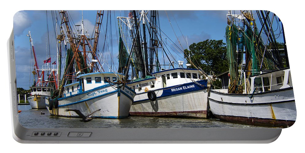 Shrimp Boats Portable Battery Charger featuring the photograph Saltwater Cowboys by Dale Powell