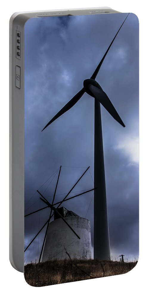 Windmill Portable Battery Charger featuring the photograph Side By Side by Edgar Laureano