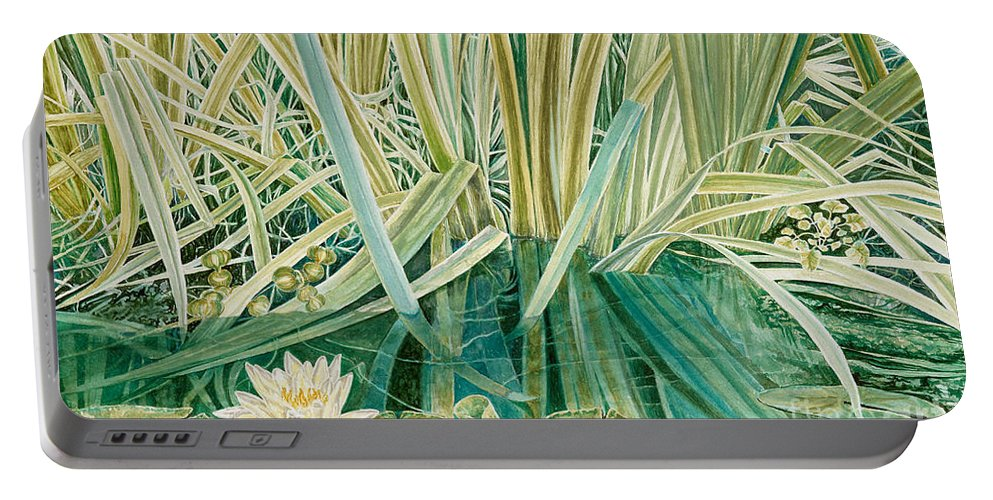 Waterscape Portable Battery Charger featuring the painting Silent Contempt by John Wilson