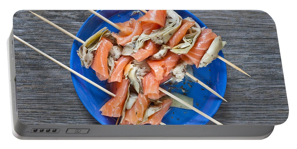 Artichoke Portable Battery Charger featuring the photograph Smoked Salmon And Grilled Artichoke by Tom Gowanlock