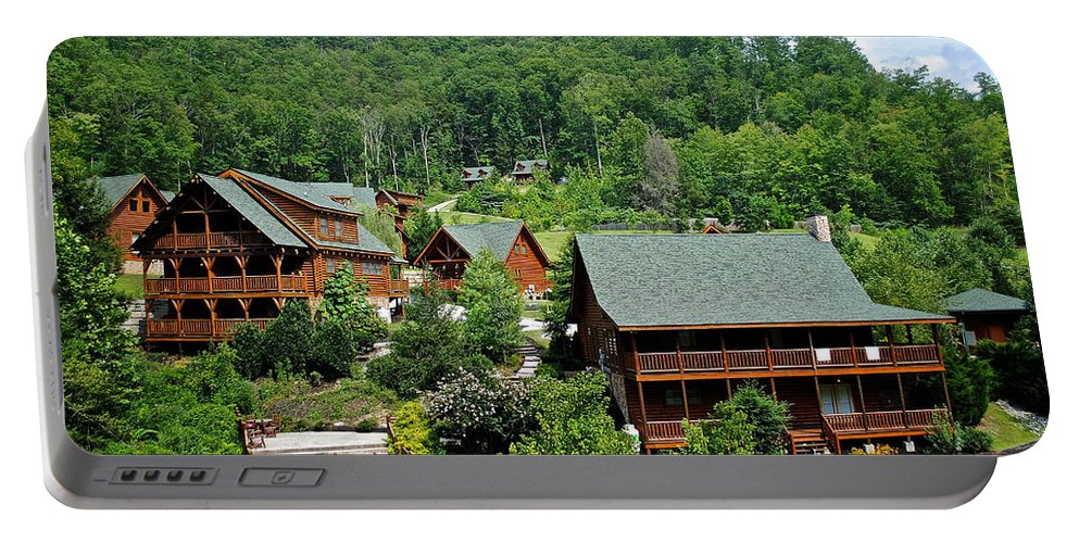 Cabins Portable Battery Charger featuring the photograph Smoky Mountain Cabins by Frozen in Time Fine Art Photography
