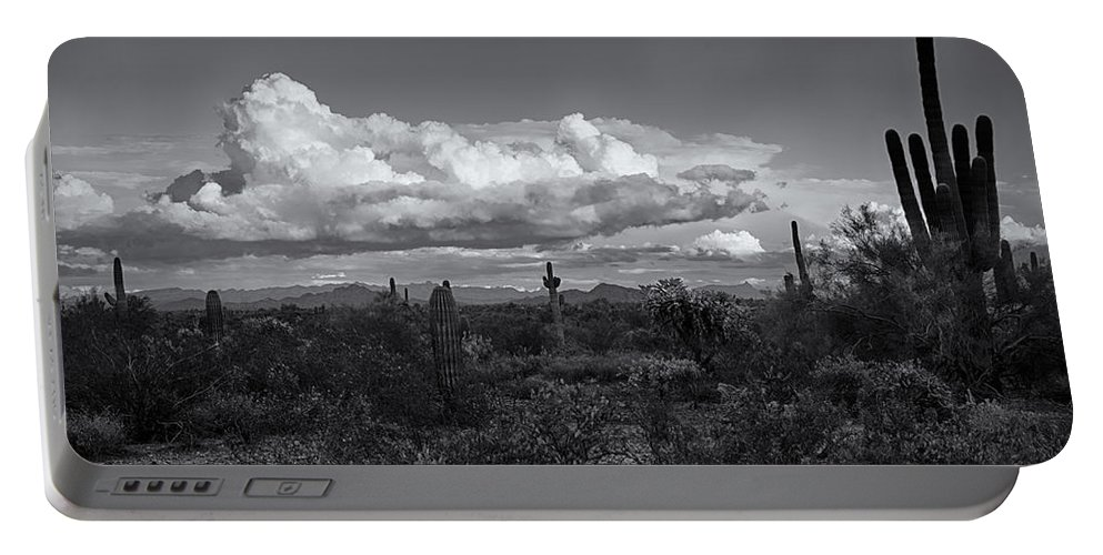 Arizona Portable Battery Charger featuring the photograph Sonoran Desert In Black And White by Saija Lehtonen