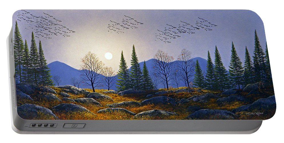 Migration Portable Battery Charger featuring the painting Southern Migration By Moonlight by Frank Wilson