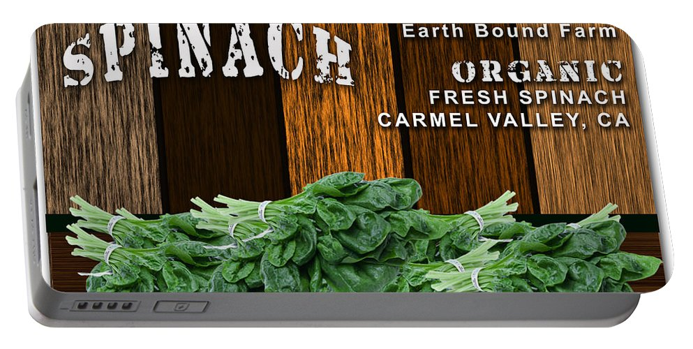 Spinach Photographs Portable Battery Charger featuring the mixed media Spinach Patch by Marvin Blaine