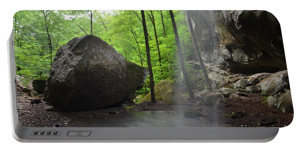 Waterfall Portable Battery Charger featuring the photograph Spring Showers by Deanna Cagle