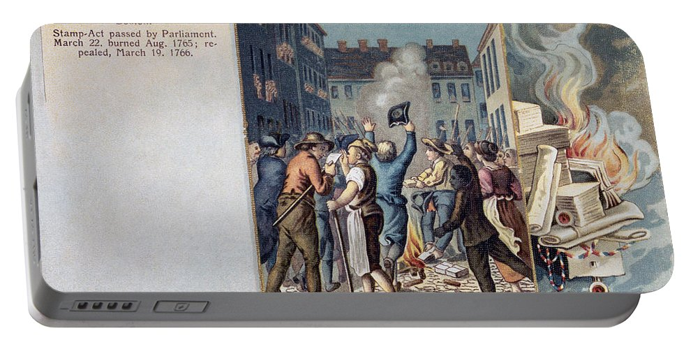 1765 Portable Battery Charger featuring the photograph Stamp Act Riot, 1765 by Granger