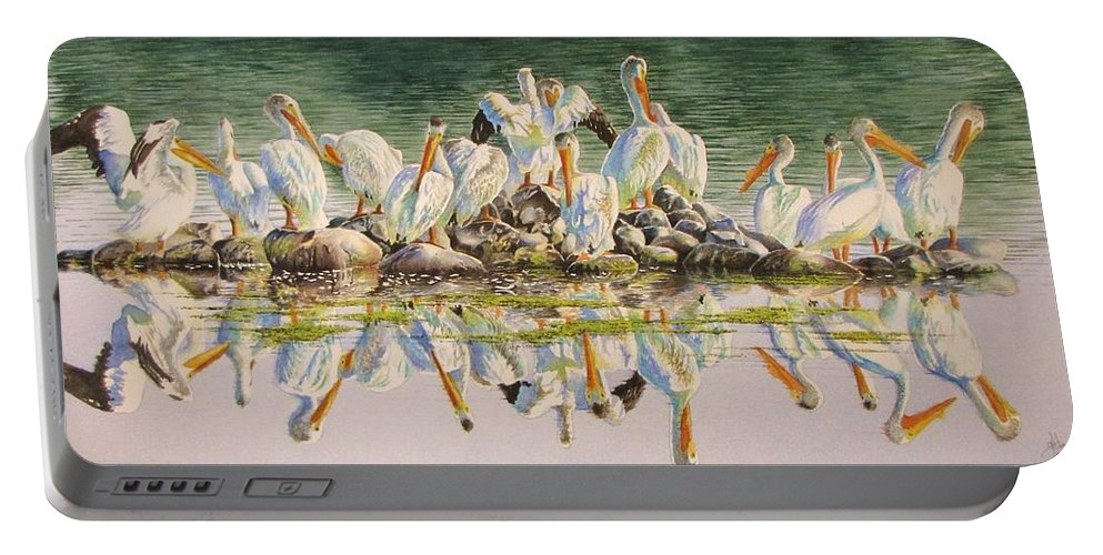 Pelican Portable Battery Charger featuring the painting Standing Room Only by Greg and Linda Halom