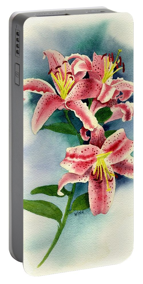 Watercolor Floral Portable Battery Charger featuring the painting Stargazer Lilies by Brett Winn