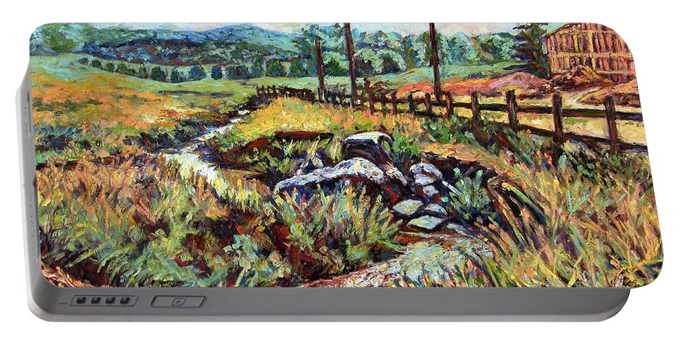 Landscape Paintings Portable Battery Charger featuring the painting Stroubles Creek by Kendall Kessler