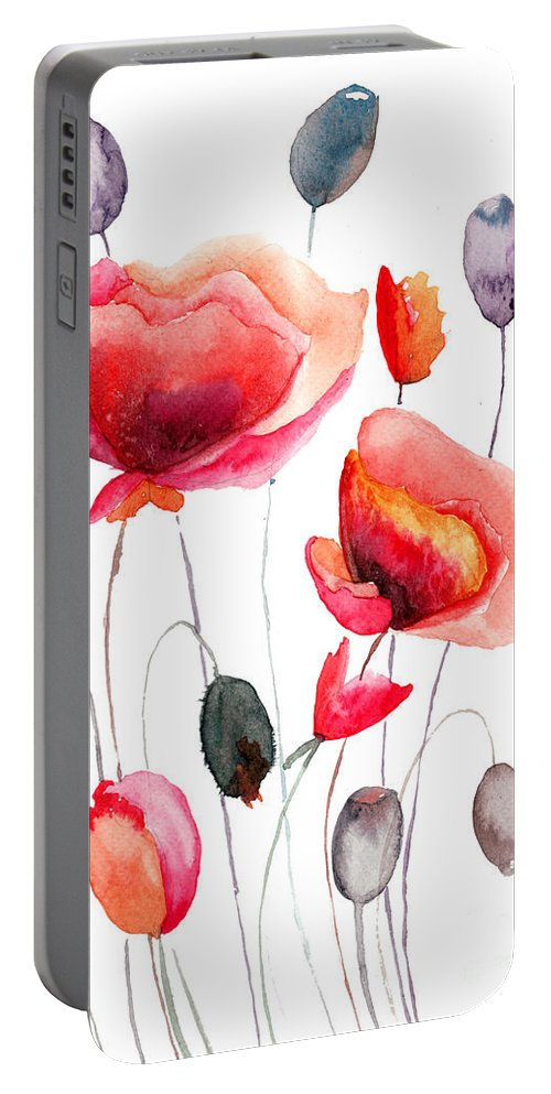 Backdrop Portable Battery Charger featuring the painting Stylized Poppy Flowers Illustration by Regina Jershova