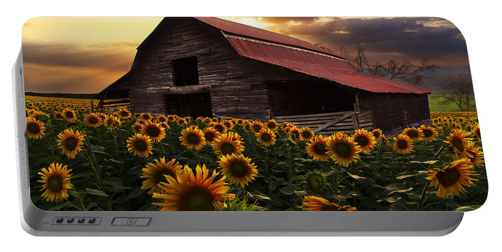 Appalachia Portable Battery Charger featuring the photograph Sunflower Farm by Debra and Dave Vanderlaan