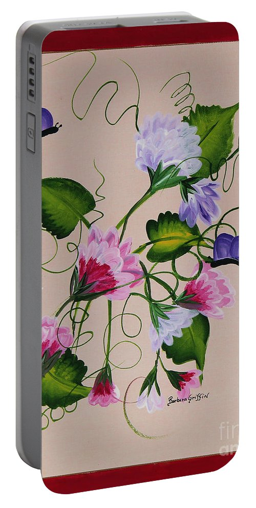 Barbara Griffin Portable Battery Charger featuring the painting Sweet Peas And Butterflies by Barbara Griffin