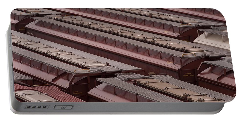 Boxcars Portable Battery Charger featuring the photograph Switch Yard For Box Cars by Jim Corwin