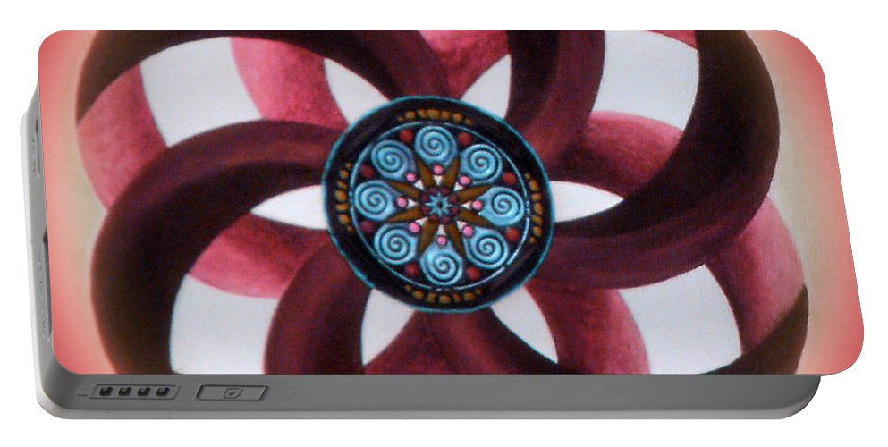Mandala Paintings Portable Battery Charger featuring the painting Synergy Mandala 3 by Maya B