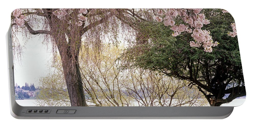 Green Lake Portable Battery Charger featuring the photograph Spring Break by Tracy Knauer