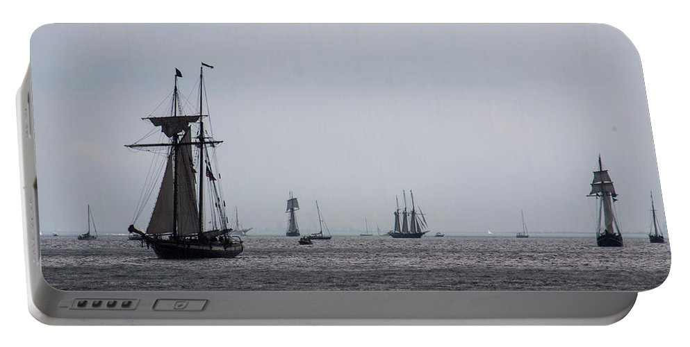 Portable Battery Charger featuring the photograph Tall Ships by Sue Conwell