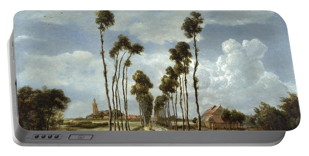 Meindert Hobbema Portable Battery Charger featuring the painting The Avenue At Middelharnis by Meindert Hobbema