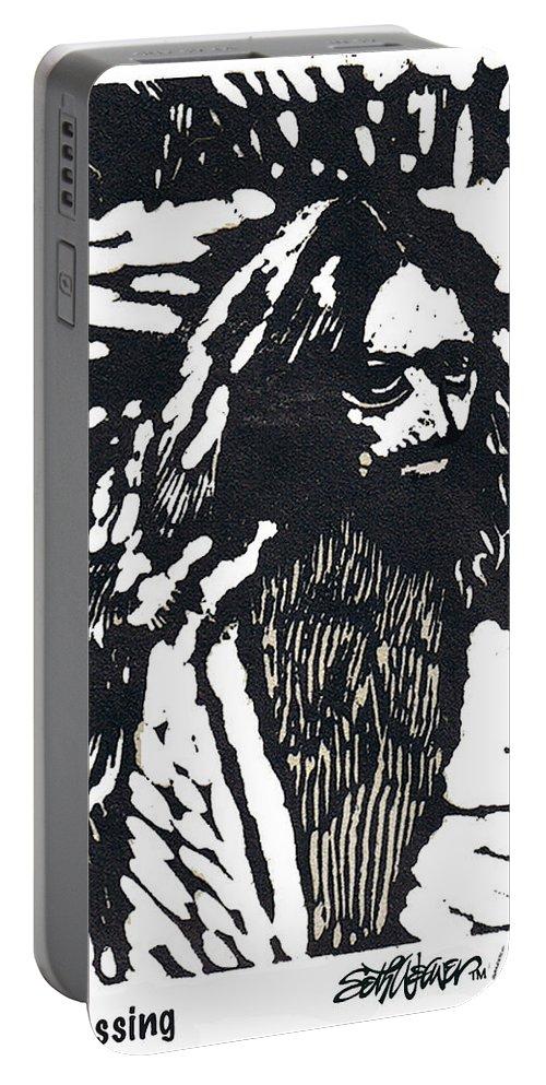 Jesus Christ Portable Battery Charger featuring the mixed media The Blessing by Seth Weaver