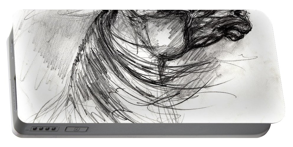Portable Battery Charger featuring the drawing The Horse Sketch by Angel Ciesniarska