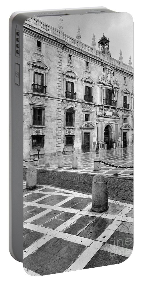 Monochrome Portable Battery Charger featuring the photograph The Royal Chancery Of Granada by Guido Montanes Castillo