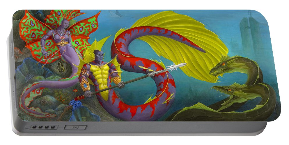 Mermaid Portable Battery Charger featuring the painting The Threat by Melissa A Benson
