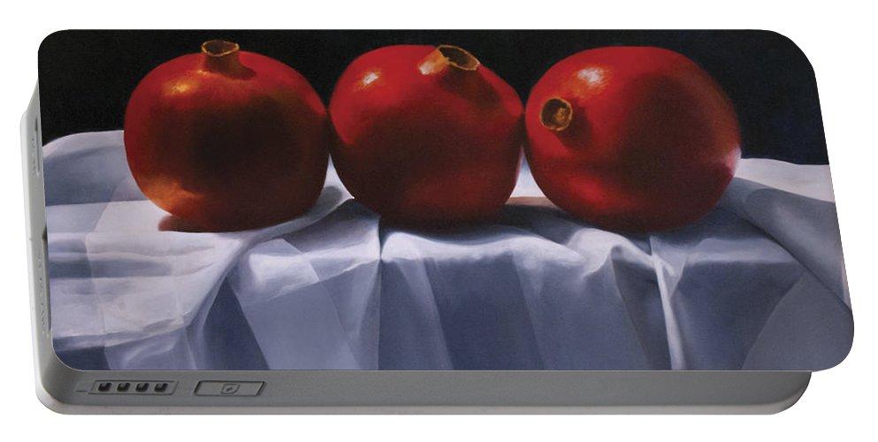Pomegranates Paintings Portable Battery Charger featuring the painting Three Pomegranates by Anthony Enyedy