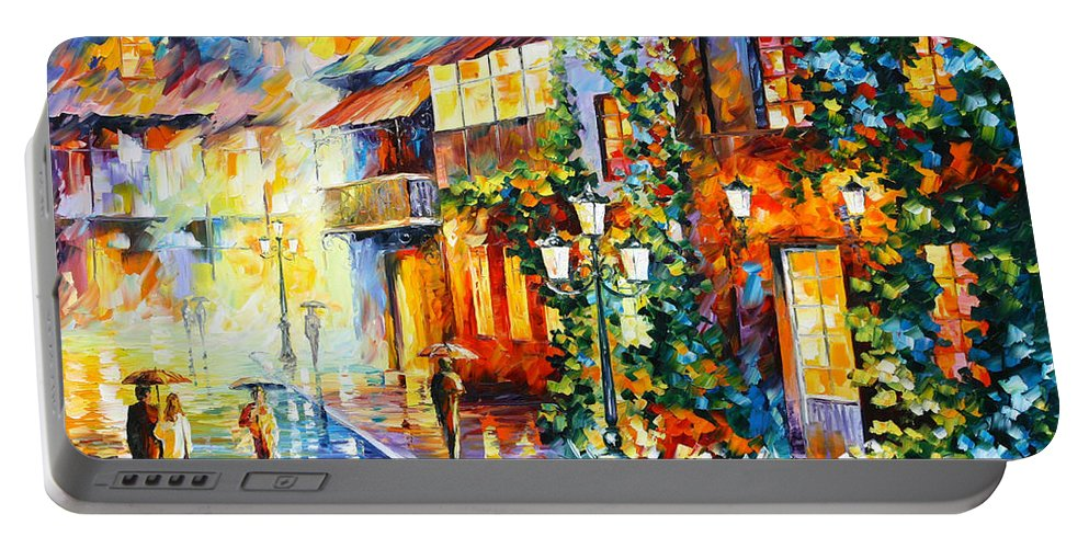 Town Portable Battery Charger featuring the painting Town From The Dream by Leonid Afremov