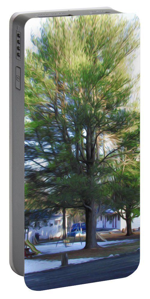 Background Portable Battery Charger featuring the painting Tree 1 by Jeelan Clark