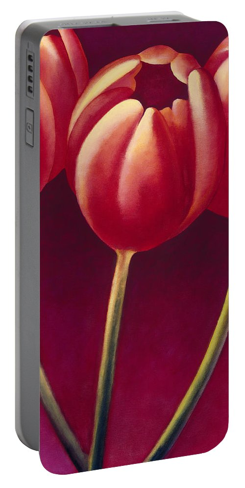 Portable Battery Charger featuring the painting Tulips Are People Xiv by Jerome Lawrence