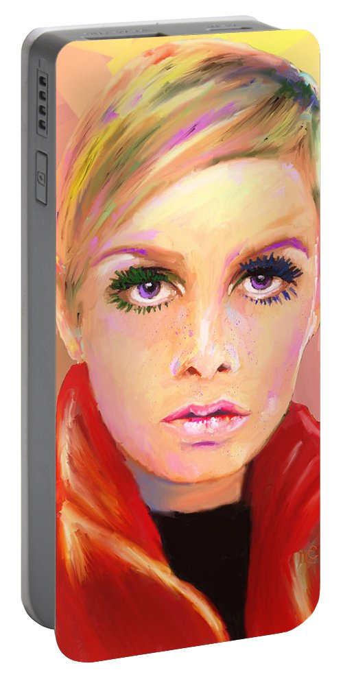 Twiggy Portable Battery Charger featuring the mixed media Twiggs by G Cannon