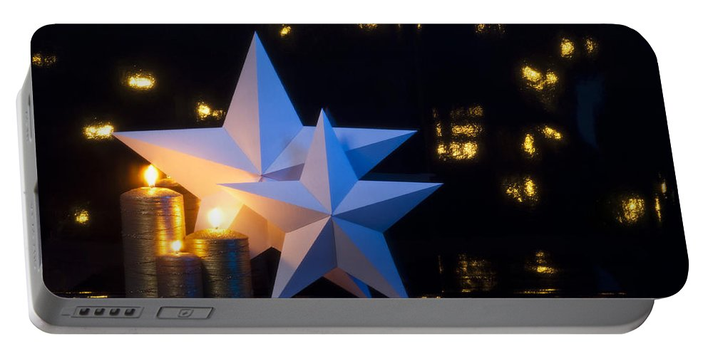 Advent Portable Battery Charger featuring the photograph Two Stars With Gold Candles by U Schade