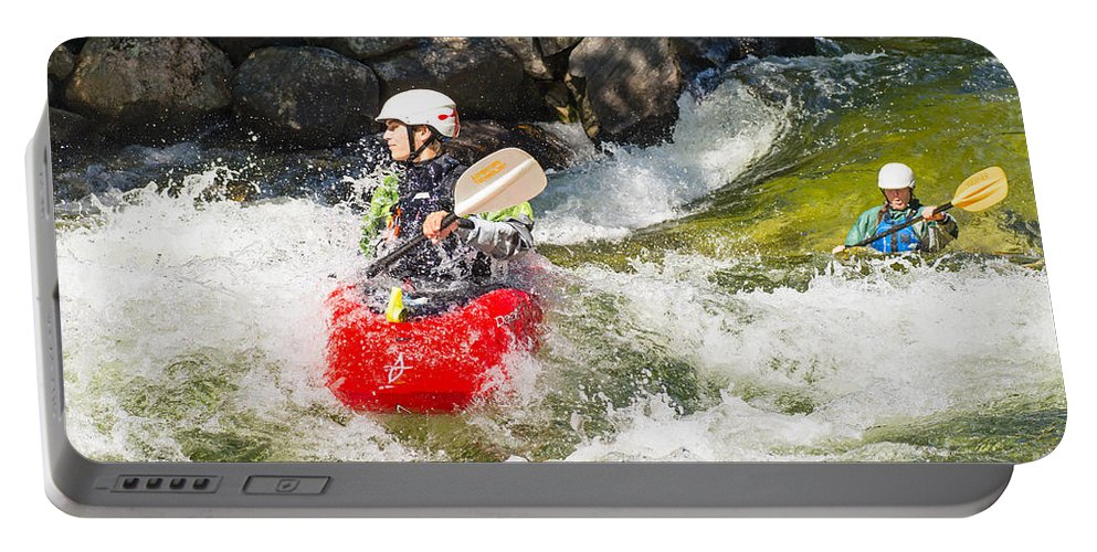 Kayak Portable Battery Charger featuring the photograph Two Whitewater Kayaks by Les Palenik