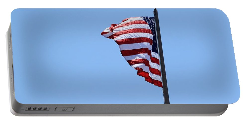 Flag Portable Battery Charger featuring the photograph Usa Flag by Henrik Lehnerer
