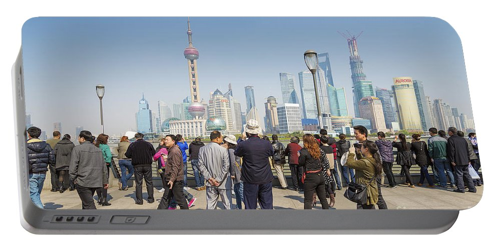 Architecture Portable Battery Charger featuring the photograph View Of Pudong In Shanghai China by Jacek Malipan
