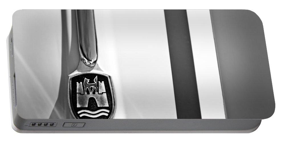 Volkswagen Vw Hood Emblem Portable Battery Charger featuring the photograph Volkswagen Vw Hood Emblem by Jill Reger