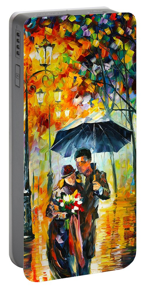 Warm Portable Battery Charger featuring the painting Warm Night by Leonid Afremov