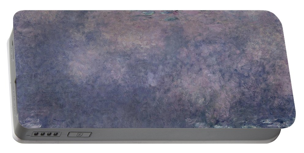 Impressionist Portable Battery Charger featuring the painting Waterlilies Two Weeping Willows by Claude Monet