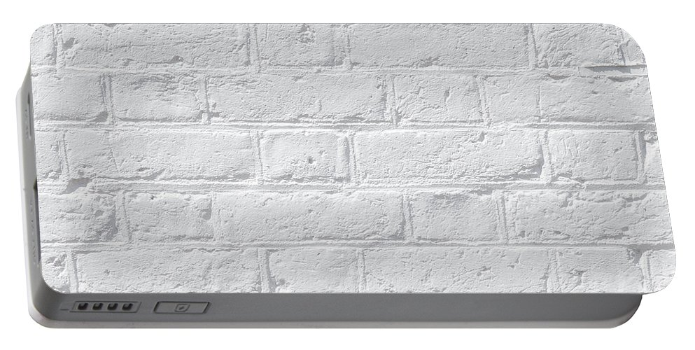White Portable Battery Charger featuring the photograph White Brick Wall by Dutourdumonde Photography