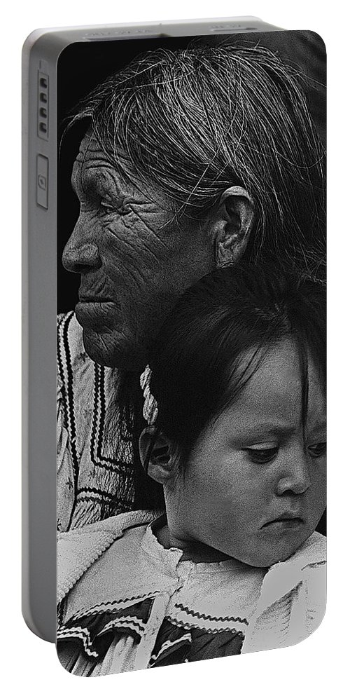 White Mountain Apache Elder And Granddaughter Rodeo White River Arizona 1970 Portable Battery Charger featuring the photograph White Mountain Apache Elder And Granddaughter Rodeo White River Arizona 1970 by David Lee Guss