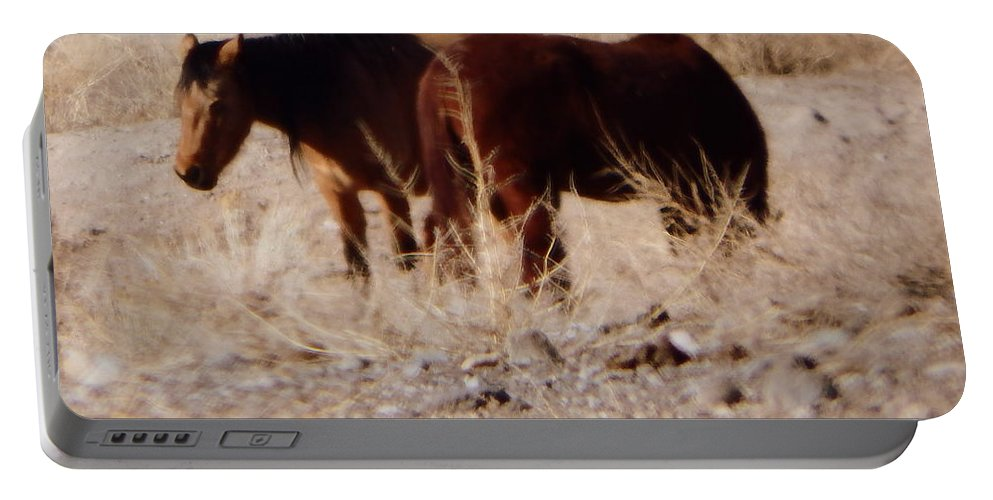 Horses Portable Battery Charger featuring the photograph Wild Nevada Mustangs by Bobbee Rickard