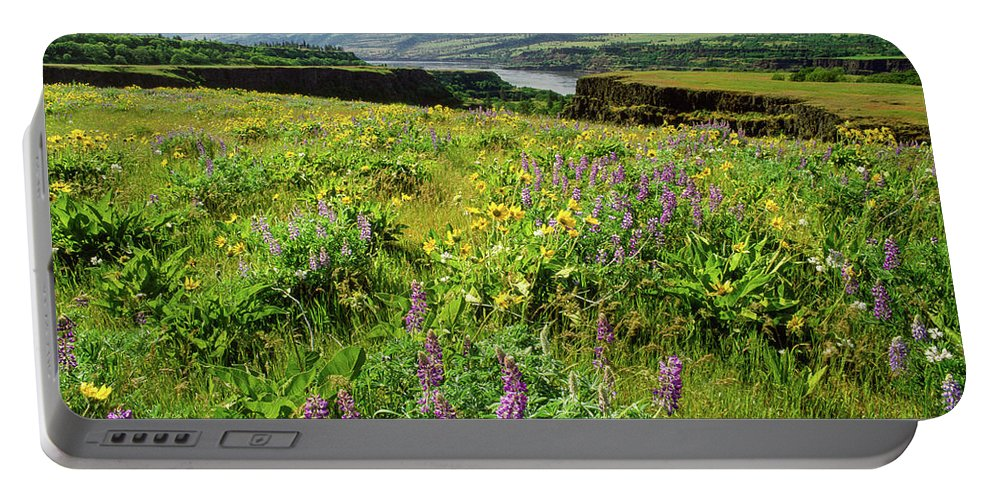 Photography Portable Battery Charger featuring the photograph Wildflowers In A Field, Columbia River by Panoramic Images
