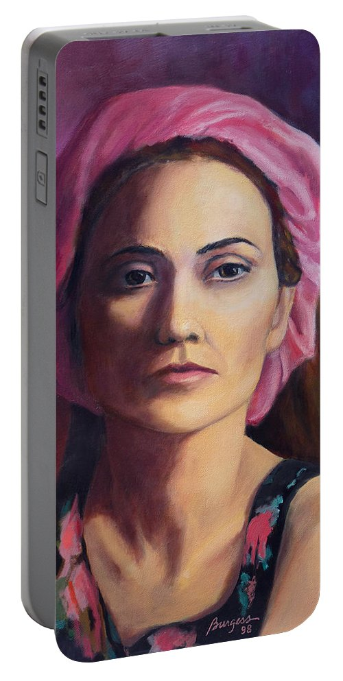 Portrait Portable Battery Charger featuring the painting Woman In A Pink Turban by Keith Burgess