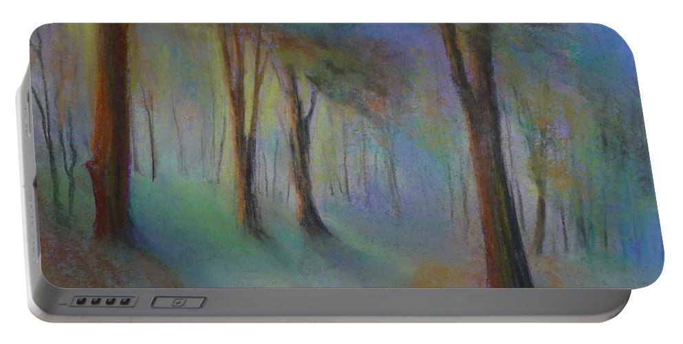 Landscape Portable Battery Charger featuring the painting Woodland by Pusita Gibbs