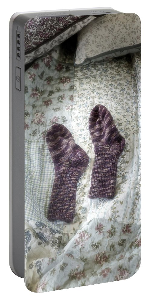 Hand-knitted Portable Battery Charger featuring the photograph Woollen Socks by Joana Kruse