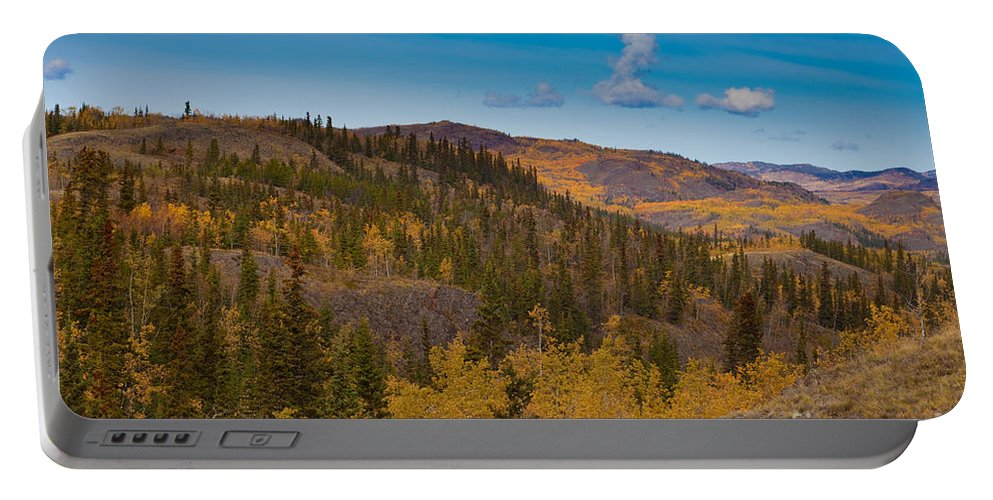 Adventure Portable Battery Charger featuring the photograph Yukon Gold - Fall In Yukon Territory Canada by Stephan Pietzko